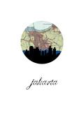 Jakarta Map Skyline