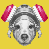 Portrait of Jack Russell Terrier Dog with Gas Mask Hand Drawn Illustration