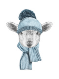 Portrait of Lamb with Hat and Scarf Hand Drawn Illustration