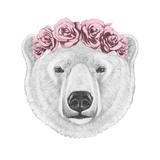 Portrait of Polar Bear with Floral Head Wreath Hand Drawn Illustration