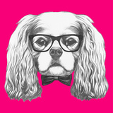 Portrait of Cavalier King Charles Spaniel with Glasses and Bow Tie Hand Drawn Illustration