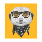 Portrait of Mongoose with Glasses and Scarf Hand Drawn Illustration