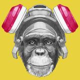 Portrait of Monkey with Gas Mask. Hand Drawn Illustration. Reproduction d'art par Victoria_novak