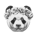 Original Drawing of Panda with Roses Isolated on White Background