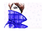 Woman Portrait with Coat Beautiful Face Abstract Watercolor Fashion Background
