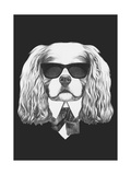 Portrait of Cavalier King Charles Spaniel in Suit Hand Drawn Illustration