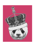 Original Drawing of Panda with Crown Isolated on Colored Background
