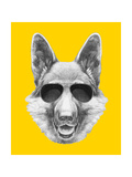 Portrait of German Shepherd with Sunglasses Hand Drawn Illustration