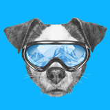 Portrait of Jack Russell Dog with Ski Goggles Hand Drawn Illustration