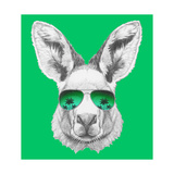 Portrait of Kangaroo with Mirror Sunglasses Hand Drawn Illustration