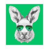 Portrait of Kangaroo with Mirror Sunglasses. Hand Drawn Illustration. Reproduction d'art par Victoria_novak