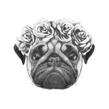Original Drawing of Pug Dog with Floral Head Wreath Isolated on White Background