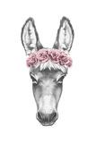 Portrait of Donkey with Floral Head Wreath. Hand Drawn Illustration Reproduction d'art par Victoria_novak