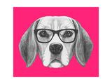 Portrait of Beagle Dog with Glasses Hand Drawn Illustration