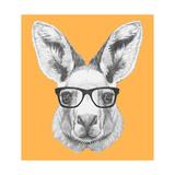 Portrait of Kangaroo with Glasses. Hand Drawn Illustration. Reproduction d'art par Victoria_novak