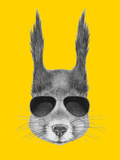 Portrait of Squirrel with Sunglasses Hand Drawn Illustration