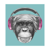 Portrait of Monkey with Headphones. Hand Drawn Illustration. Reproduction d'art par Victoria_novak