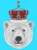 Portrait of Polar Bear with Crown Hand Drawn Illustration