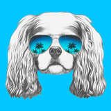 Portrait of Cavalier King Charles Spaniel with Mirror Sunglasses Hand Drawn Illustration