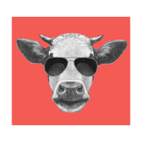 Portrait of Cow Hand Drawn Illustration