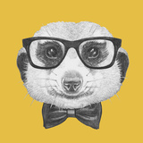 Portrait of Mongoose with Glasses and Bow Tie Hand Drawn Illustration