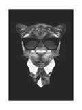 Portrait of Panther in Suit Hand Drawn Illustration