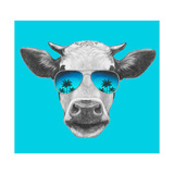 Portrait of Cow with Mirror Sunglasses. Hand Drawn Illustration. Reproduction d'art par Victoria_novak