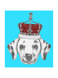 Portrait of Dalmatian Dog with Crown Hand Drawn Illustration