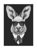 Portrait of Kangaroo in Suit Hand Drawn Illustration