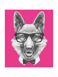 Portrait of German Shepherd with Glasses and Bow Tie Hand Drawn Illustration