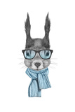 Portrait of Squirrel with Scarf and Glasses Hand Drawn Illustration