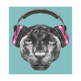 Portrait of Panther with Headphones. Hand Drawn Illustration. Reproduction d'art par Victoria_novak