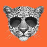 Original Drawing of Leopard with Sunglasses Isolated on Colored Background