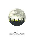 Melbourne Map Skyline Reproduction d'art