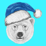 Portrait of Polar Bear with Santa Hat and Sunglasses Hand Drawn Illustration