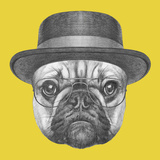Portrait of French Bulldog with Hat and Glasses Hand Drawn Illustration