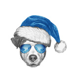 Portrait of Jack Russell Dog with Santa Hat and Sunglasses Hand Drawn Illustration