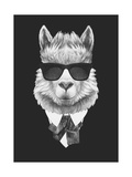 Portrait of Lama in Suit Hand Drawn Illustration
