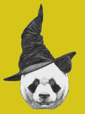 Portrait of Panda with Witch Hat Halloween Illustration