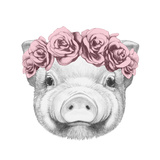 Portrait of Piggy with Floral Head Wreath Hand Drawn Illustration