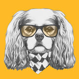 Portrait of Cavalier King Charles Spaniel with Glasses and Scarf Hand Drawn Illustration