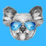 Portrait of Koala with Mirror Sunglasses. Hand Drawn Illustration. Reproduction d'art par Victoria_novak