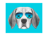Portrait of Beagle Dog with Mirror Sunglasses Hand Drawn Illustration