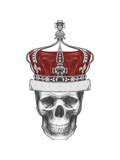 Original Drawing of Skull with Crown Isolated on White Background