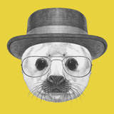 Portrait of Baby Fur Seal with Hat and Glasses Hand Drawn Illustration