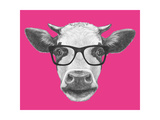 Portrait of Cow with Glasses Hand Drawn Illustration
