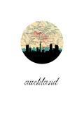 Auckland Map Skyline Reproduction d'art