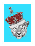 Original Drawing of Leopard with Crown Isolated on Colored Background