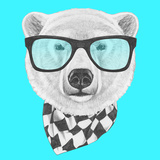 Portrait of Polar Bear with Glasses and Scarf Hand Drawn Illustration