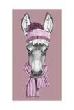 Portrait of Donkey with Hat and Scarf Hand Drawn Illustration